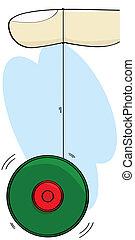 Yo-yo - Cartoon illustration showing a finger and a yo-yo...