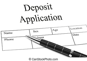 Deposit Application and an pen