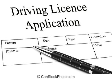 Driving Licence Application and an pen