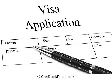 Visa Application and an pen