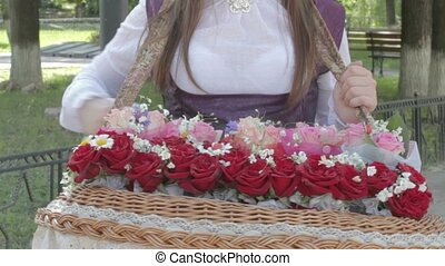 Young woman holding rose bouquet on - 2 IN 1 EDIT Young...