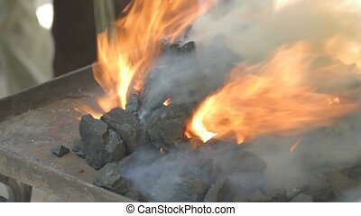 Close-up of fire flames from live c