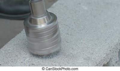 Drilling hole in concrete plank - Drilling hole in concrete...