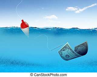 fish hook underwater with banknotes as symbol of finance