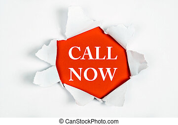 Call Now under paper - Call Now word discovered under paper