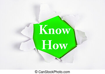 Know How under paper - Know How word discovered under paper