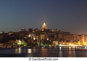 View of Istanbul and Galata tower at night