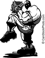 Baseball Player Pitcher Cartoon - Cartoon Silhouette of a...