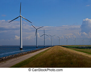 Dutch windfarm overview - Windfarm along the coast seen from...