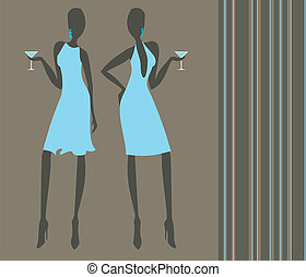 Cocktail Girls - Silhouettes of two elegant young women...