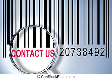 Contact us on barcode - Contact us under magnifyng glass on...