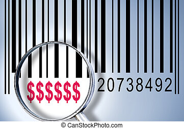 Dollar sign on barcode - Dollar sign under magnifyng glass...