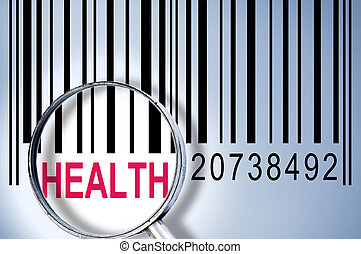 Health on barcode - Health under magnifyng glass on barcode