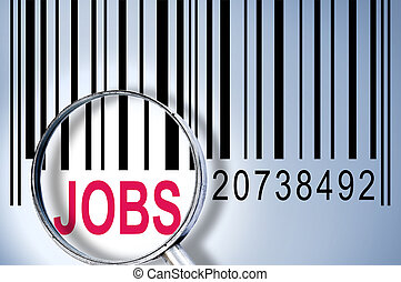 Jobs on barcode - Jobs under magnifyng glass on barcode