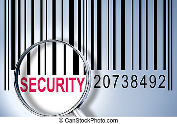 Security on barcode - Security under magnifyng glass on...