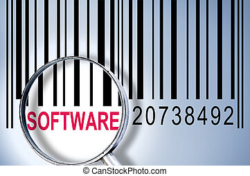 Software on barcode - Software under magnifyng glass on...