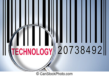 Technology on barcode - Technology under magnifyng glass on...