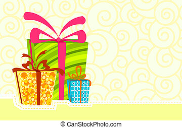Gift Box - illustration of gift boxes on abstract background