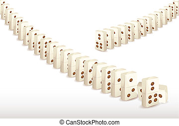 Series of Dominoes - illustration of arrangement of long...
