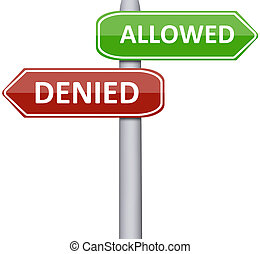 Allowed and Denied on road sign