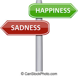 Happiness and Sadness on road sign