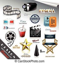 cinema, desenho, elementos, ícones