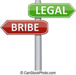 Legal and bribe on road sign