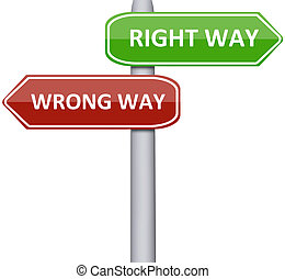 Right and wrong way on road sign