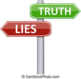 Lies and truth on road sign