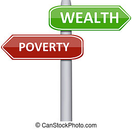 Poverty and wealth on road sign