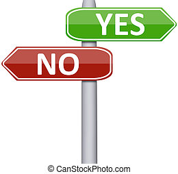 Yes and No on road sign