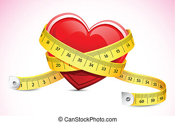Healthy Heart - illustration of measuring tape around heart...