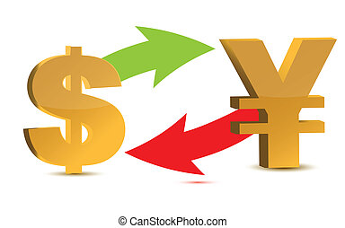 Currency exchange. Dollar and yen isolated on white...