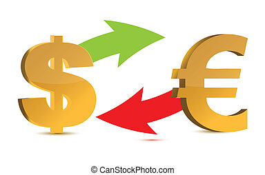 Currency exchange. Dollar and euro