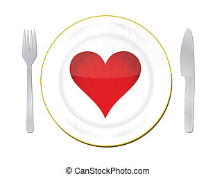 heart on plate with fork & knife