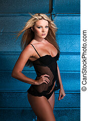 Blonde - Beautiful curvy blonde dressed in black lingerie