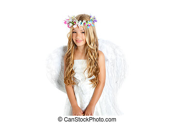 Angel little girl with wings and children flowers crown...
