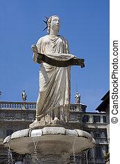 Fountain of piazza delle erbe - Ornate fountain in Piazza...