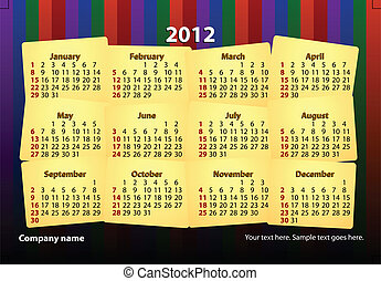 2012 calender - colorful and creative 2012 new years...