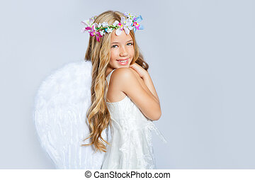 Angel girl children sweet expression and white wings - Angel...