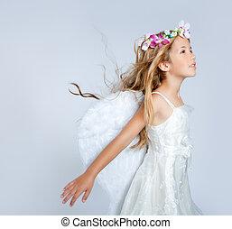 anjo, crianças, menina, vento, cabelo, moda, flores,...