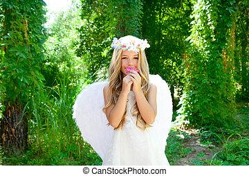 天使, 孩子, 女孩, 聞, 粉紅色, 花, 森林