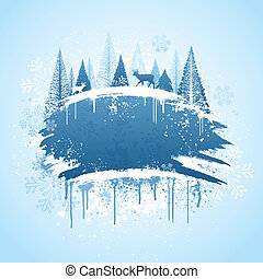 Winter forrest grunge design