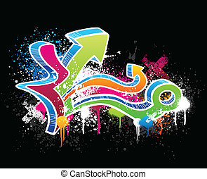 Graffiti sketch - Colorful graffiti sketch with grunge paint...