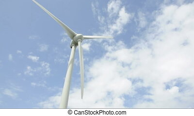 Wind power with sky - Wind power generation in the blue sky...