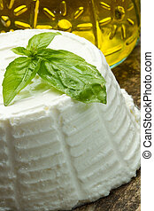 ricotta - fresh ricotta with basil leaf