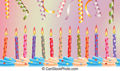 row of birthday candles - vector row of birthday candles on...