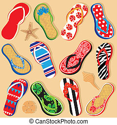 Fun Sandals and Seashells - 12 different funky sandals on a...