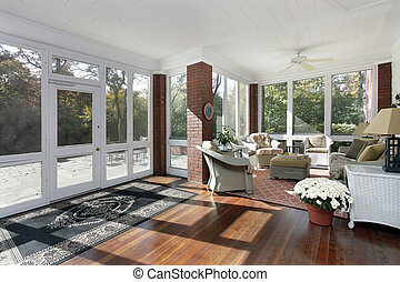 Porch with access to patio