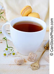 cup of fragrant tea with sugar